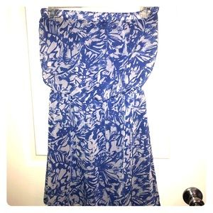 Strapless blue and white summer dress